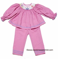 Silly Goose Girls Hot Pink Check Smocked Princess Castle Carriage Pants Set