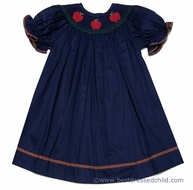Silly Goose Girls Navy Blue Smocked Red Fall Apples Bishop Dress