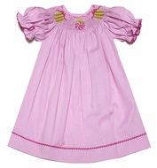 Silly Goose Girls Pink Microcheck Smocked Christmas Ornaments Bishop Dress