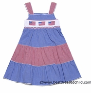 Silly Goose Girls Red / Royal Blue Gingham Smocked Patriotic Flags Tiered Sun Dress