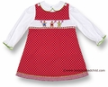 Silly Goose Girls Red with White Dots Smocked Christmas Gingerbread Girls - Jumper with Blouse