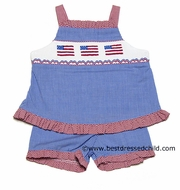 Silly Goose Girls Royal Blue Gingham Smocked U.S. Flags Red Trim Ruffle Shorts Set