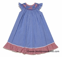 Silly Goose Girls Royal Blue Smocked July 4th Flags Ruffled BISHOP Dress