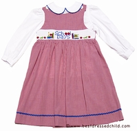 Silly Goose Girls Smocked School Days / Books Red Gingham Jumper with Blouse