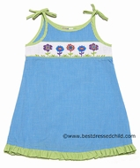 Silly Goose Girls Turquoise Gingham Smocked Spring Flowers A-Line Dress with Ties
