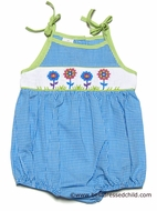 Silly Goose Infant Baby Girls Turquoise Blue Gingham Smocked Flowers Bubble