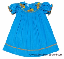 Smocked Silly Girls Turquoise Corduroy Smocked Thanksgiving Turkeys Bishop Dress