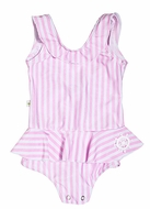 Snapping Turtle Kids Baby / Toddler Girls Pink Striped Beverly Hills Swimsuit - Ruffle