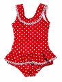 Snapping Turtle Kids Baby / Toddler Girls Sag Harbor Red Dots Swimsuit - Ruffle