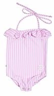 Snapping Turtle Kids Girls Pink Stripe Beverly Hills Swimsuit - Halter