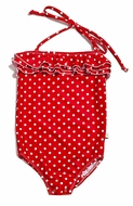 Snapping Turtle Kids Girls Sag Harbor Red Dots Swimsuit - Halter