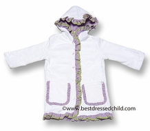 Snapping Turtle Kids Girls White Terry Velour Cover Up with Hood & Lavender Trim