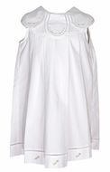 Sophie & Lucas Baby / Toddler Girls Dress with Embroidery - Petal Neckline - White