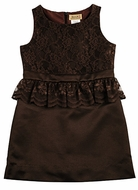Studio 342 by Eiseman Girls Brown Satin / Lace Dress with Peplum