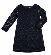 Studio 342 by Eiseman Girls Navy Blue Lace Party Dress