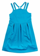 Studio 342 by Eiseman Girls Turquoise Blue Ponti Knit Dress with O-Ring