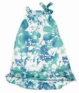Studio 342 by Florence Eiseman Girls Aqua / White Floral Chiffon Dress with High/Low Hem