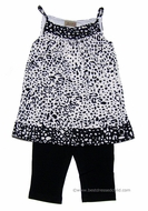 Studio 342 by Florence Eiseman Girls Black Cropped Leggings with Animal Print Tunic Top