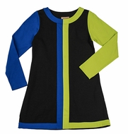 Studio 342 by Florence Eiseman Girls Black / Royal Blue / Lime Green Color Block Dress