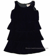 Studio 342 by Florence Eiseman Girls Black Velvet Tiered Dress with Removable Flower Pin