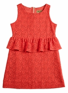Studio 342 by Florence Eiseman Girls Coral Lace Peplum Dress