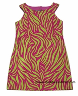 Studio 342 by Florence Eiseman Girls Fuchsia / Lime Green Animal Print Dress with Back Cut-Out