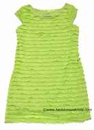 Studio 342 by Florence Eiseman Girls Lime Green Ruffle Knit Cap Sleeve Dress