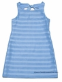 Studio 342 by Florence Eiseman Girls Linen Blend Blue Solid / Sheer Stripe