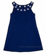 Studio 342 by Florence Eiseman Girls Navy Blue Knit Dress with Grommets at Neck
