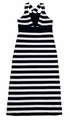Studio 342 by Florence Eiseman Girls Navy Blue Striped Knit Maxi Dress