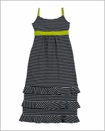 Studio 342 by Florence Eiseman Girls Navy Blue Striped Maxi Dress with Lime Green Tie