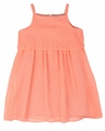 Studio 342 by Florence Eiseman Girls Peachy Orange Chiffon Dots Overlay Dress
