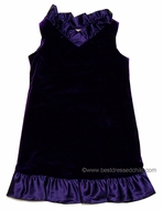 Studio 342 by Florence Eiseman Girls Purple Velvet Dress with Satin Accents
