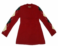 Studio 342 by Florence Eiseman Girls Red / Brown / Camel Argyle Sleeved Tunic