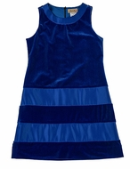 Studio 342 by Florence Eiseman Girls Royal Blue Velvet Dress with Satin Bands