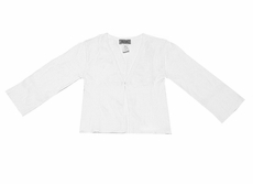 Studio 342 by Florence Eiseman Girls White Cotton 3/4 Sleeve Cardigan Sweater