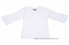 Studio 342 by Florence Eiseman Girls White Cotton Cardigan with Ruffle Inset Sleeves