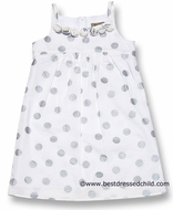 Studio 342 by Florence Eiseman Girls White / Silver Dots Dress with Spaghetti Straps and Roses
