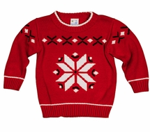 T.F. Laurence Boys Red Intarsia Christmas Snowflake Sweater