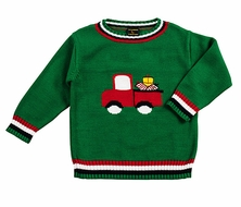 T.F. Laurence by Eiseman Boys Christmas Gifts Truck on Green Sweater