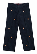 T.F. Laurence by Eiseman Boys Navy Blue Wide Wale Cord / Football Embroidery Pants