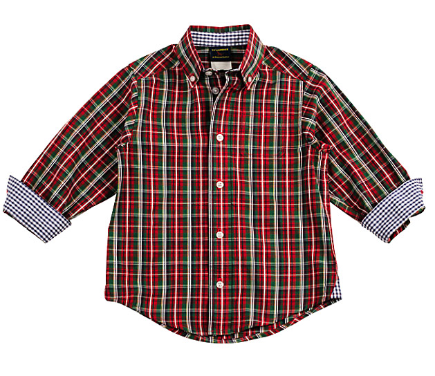 Laurence by eiseman boys red green christmas plaid dress shirt