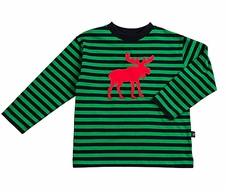 TF Laurence by Eiseman Boys Green / Navy Blue Striped Red Christmas Moose Shirt
