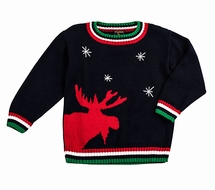 TF Laurence by Eiseman Boys Intarsia Red Christmas Moose on Navy Blue Sweater