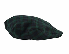 TF Laurence by Eiseman Boys Navy Blue / Green Blackwatch Plaid Beret / Driving Hat