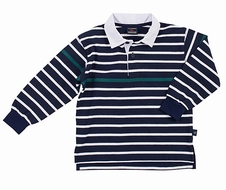 TF Laurence by Eiseman Boys Navy Blue Striped Pique Knit Polo Shirt