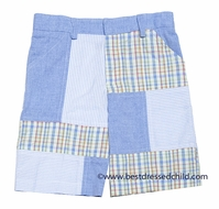 TF Laurence by Eiseman Boys Preppy Blue Patchwork Dress Shorts