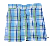 TF Laurence by Eiseman Boys Turquoise Blue / Green Dressy Plaid Shorts