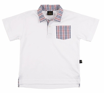 TF Laurence by Eiseman Boys White Polo Shirt with Plaid Collar & Pocket