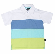 TF Laurence by Florence Eiseman Boys Color Block Polo Shirt - White / Blue / Aqua / Lime Green